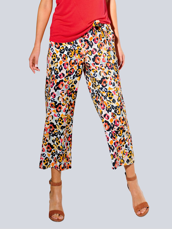 Alba Moda Culotte met trendy print, Offwhite/Oranje/Rood