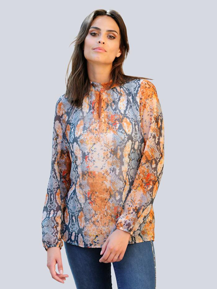 Alba Moda Blúzka s exkluzívnym vzorom, Modrá/Béžová
