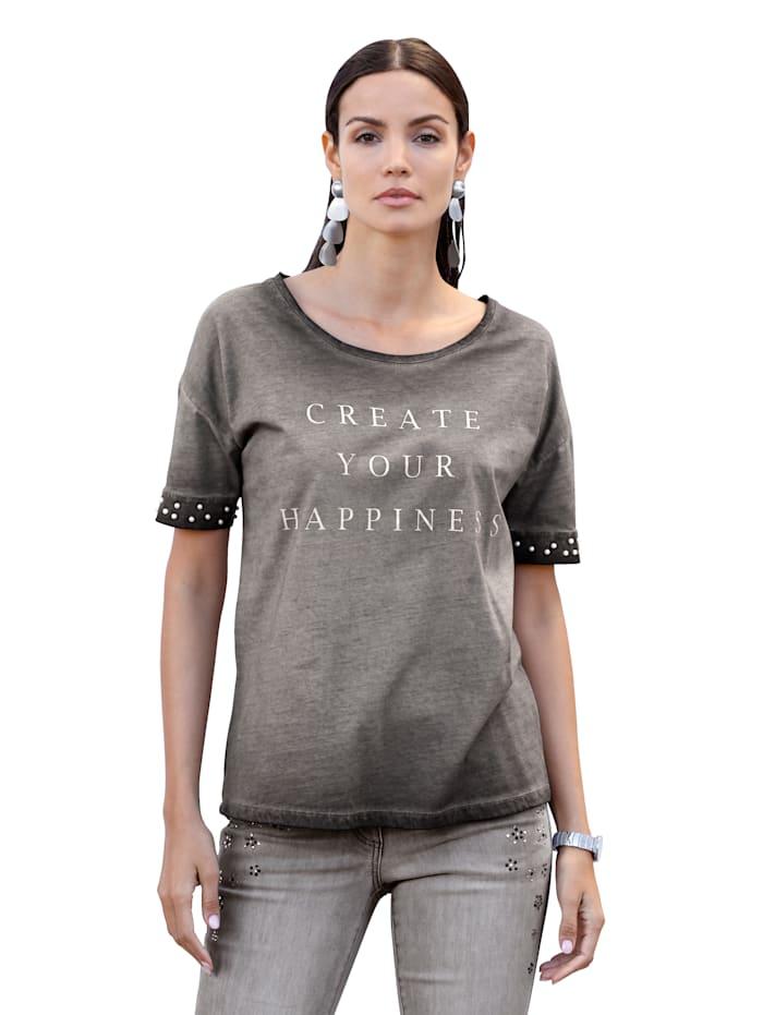 AMY VERMONT Shirt mit Perlen am Ärmelsaum, Grau