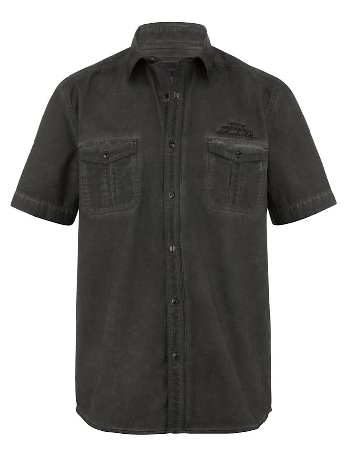 BABISTA Skjorta i tvättad look, Antracitgrå