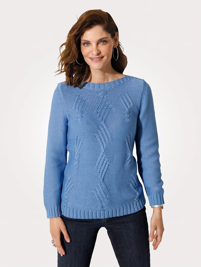 MONA Pullover mit platziertem Strukturstrick, Blau