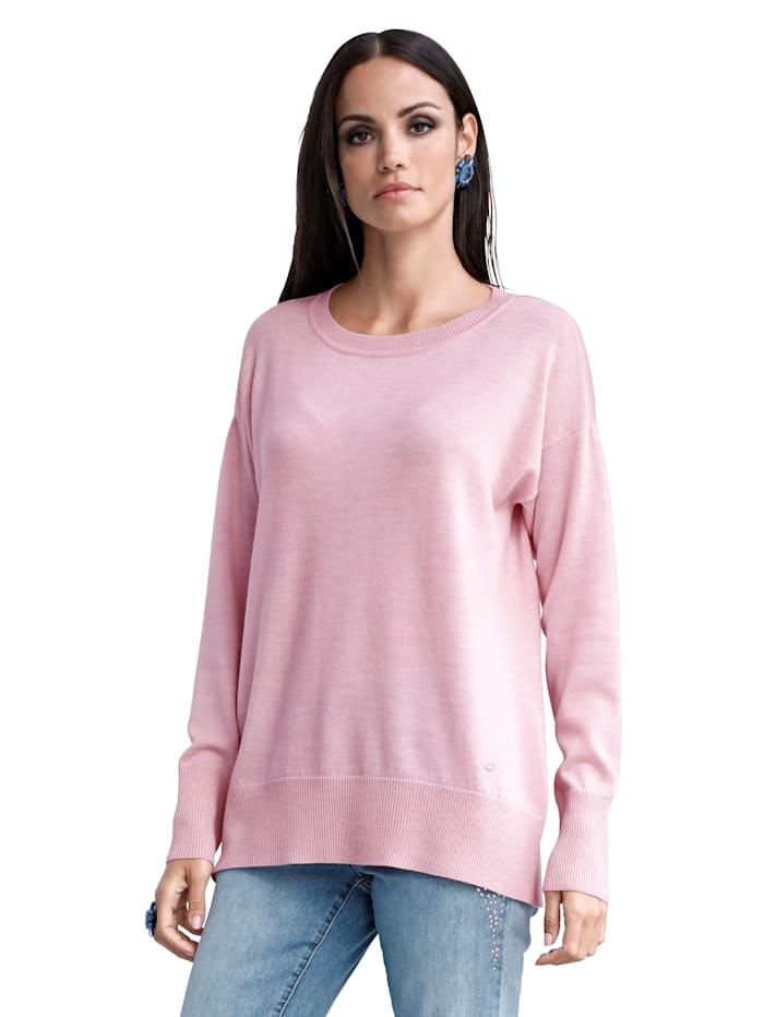 AMY VERMONT Trui met brede, geribde boordjes, Roze