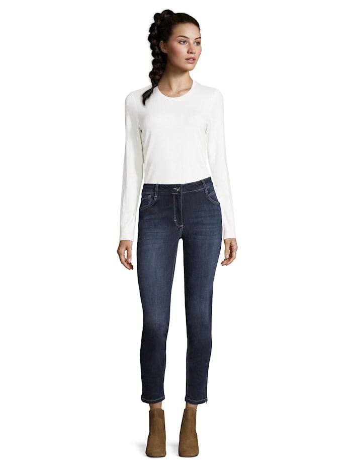 Betty Barclay Modern fit jeans mit Reißverschluss, Blue Used Denim