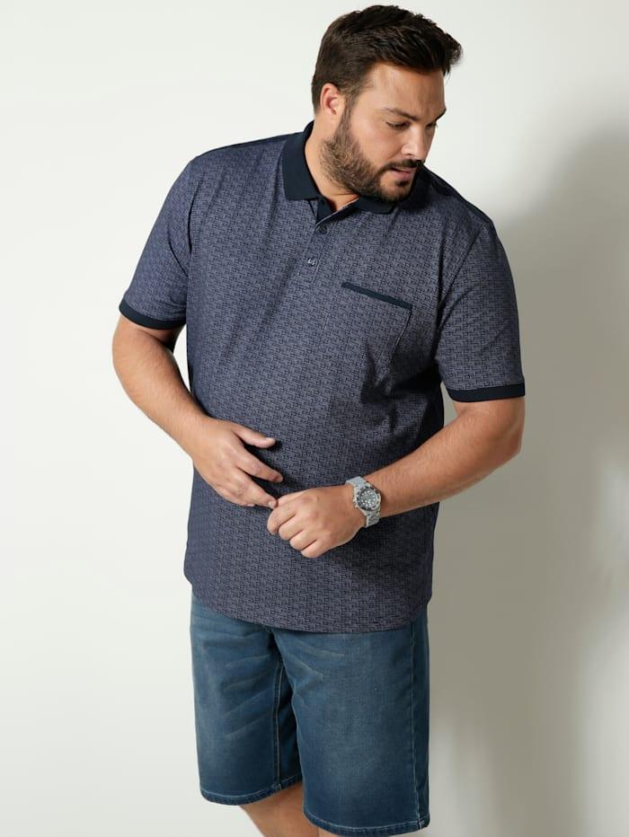 Men Plus Poloshirt met een borstzak, Marine/Wit