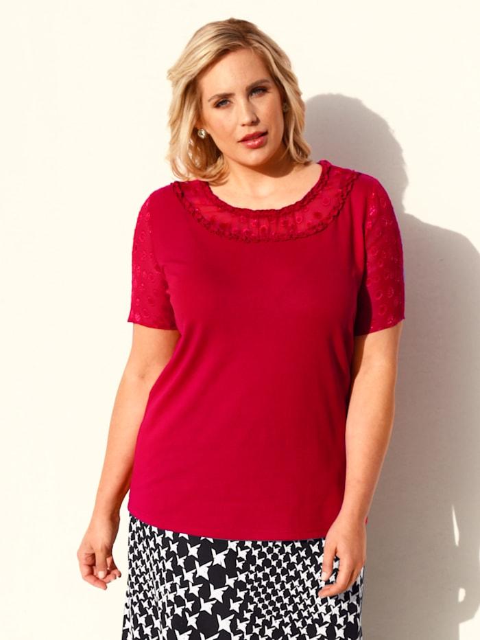 m. collection Shirt met gedeeltes van chiffon, Rood