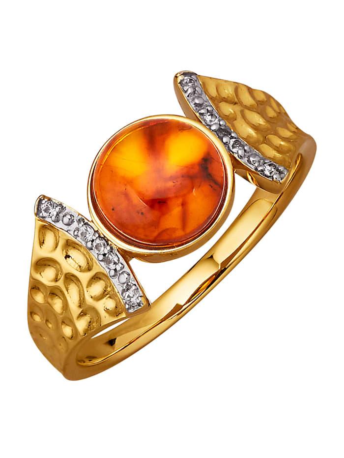 Amara Pierres colorées Bague avec cabochon d'ambre, Marron