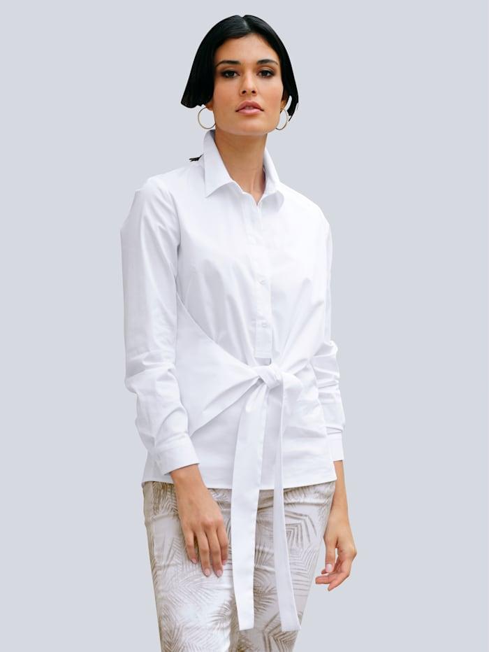 Alba Moda Bluse mit effektvoller Knoten-Wickel-Optik, Weiß