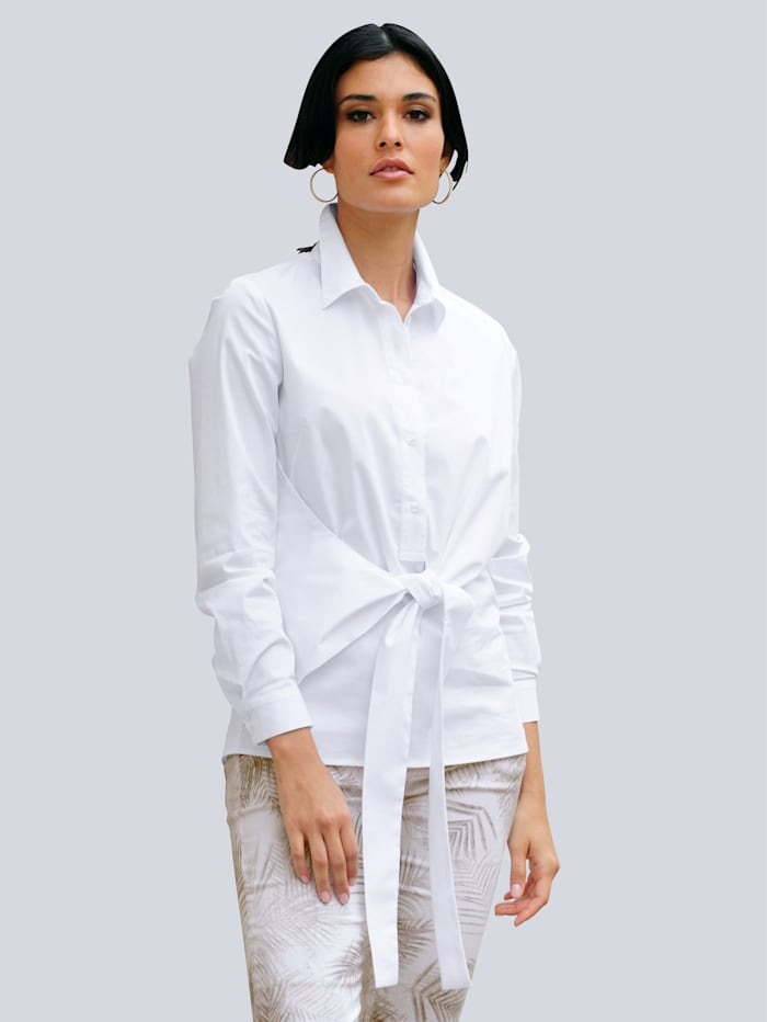 Alba Moda Chemisier avec superbe effet noué, Blanc