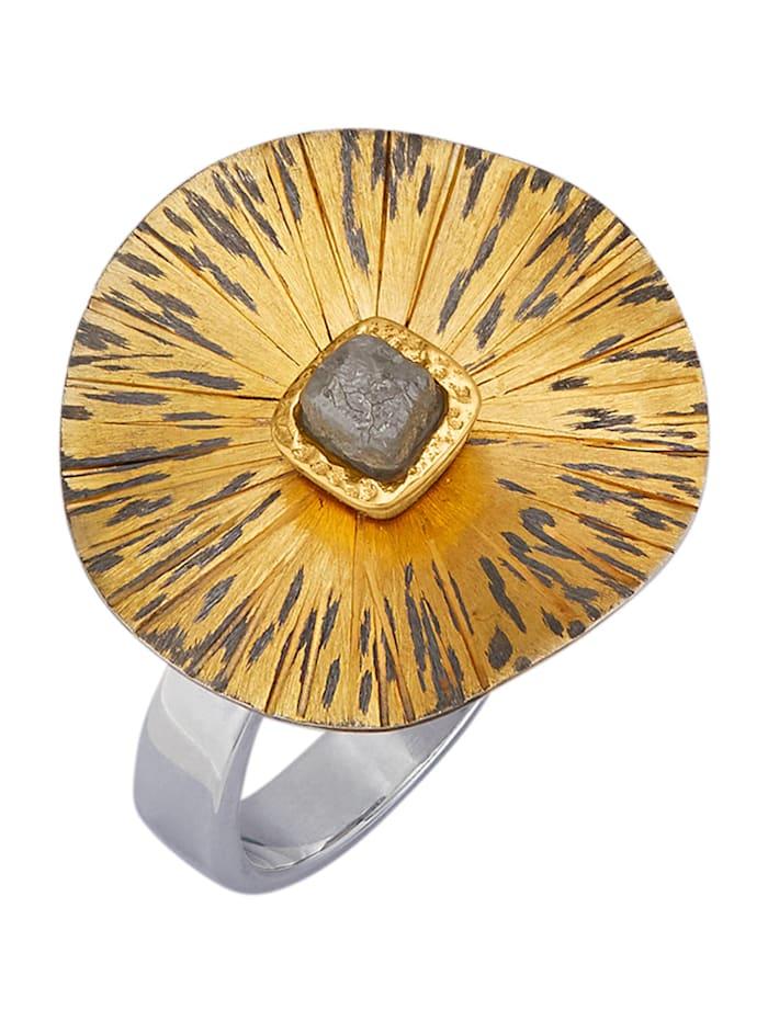 Amara Atelier Bague avec 1 diamant brut, Multicolore
