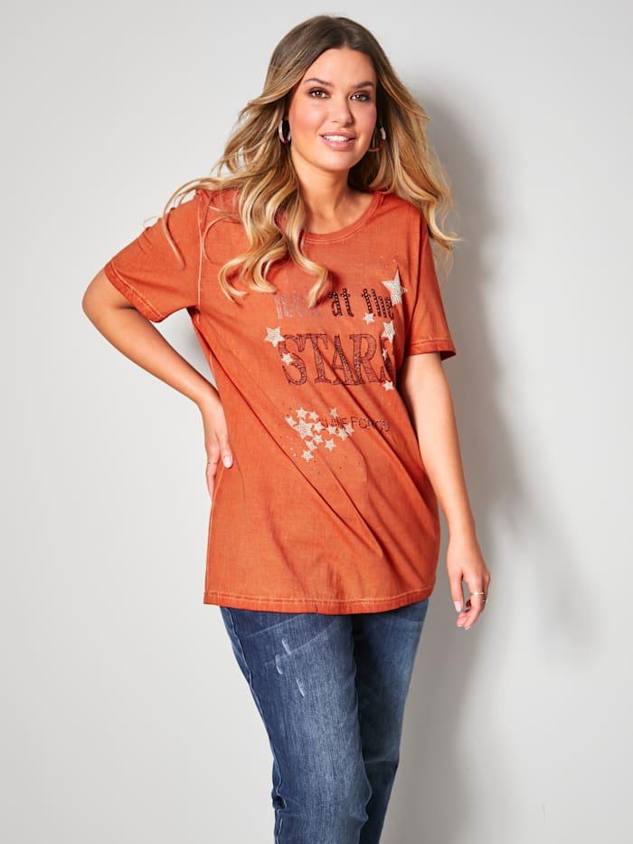 Janet & Joyce Shirt in oil washed Qualität, Orange