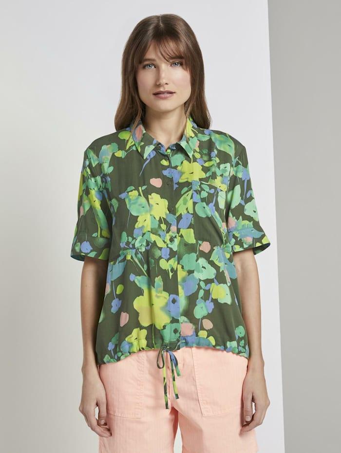 Tom Tailor Denim Kurzarm Hemdbluse mit floralem Print, green flower print