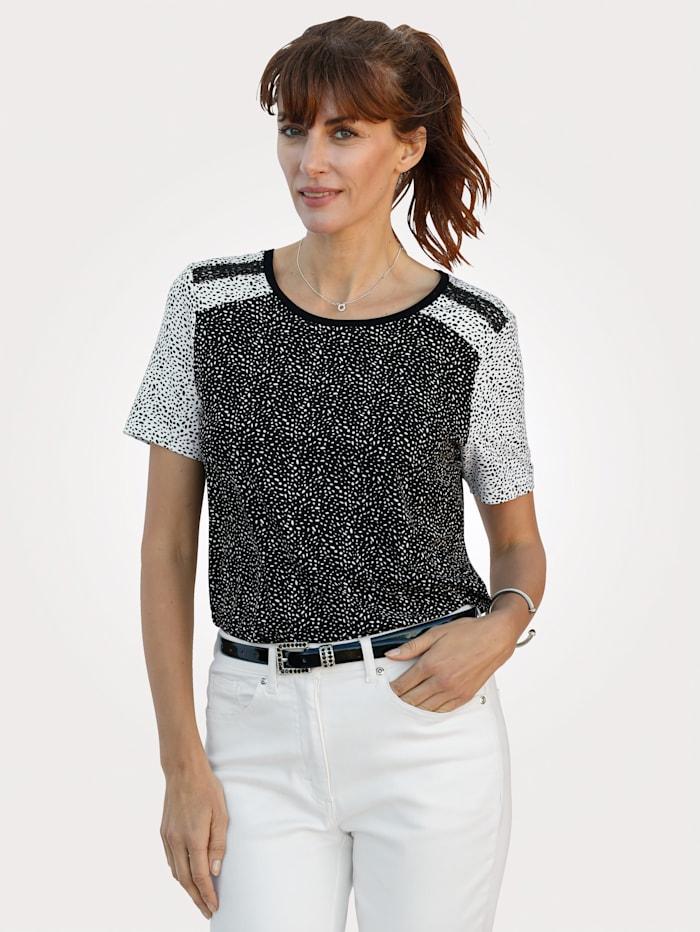 MONA Shirt mit Tupfen-Dessin, Schwarz/Weiß
