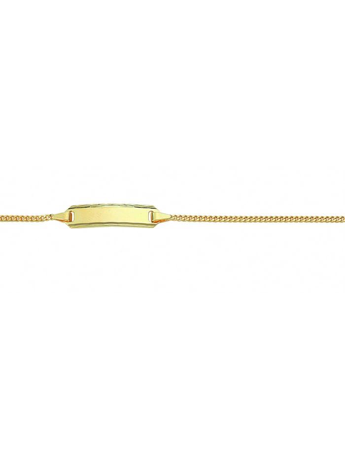 1001 Diamonds Damen Goldschmuck 585 Gold Flach Panzer Armband 14 cm Ø 1,4 mm, gold