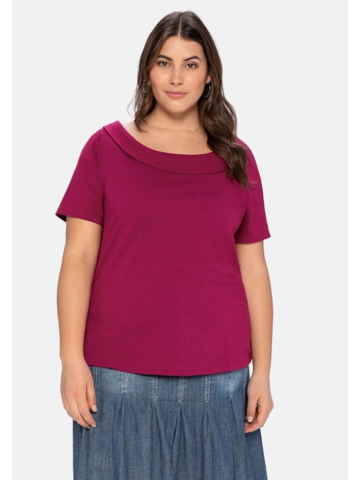 sheego by Joe Browns Shirt mit weitem Ausschnitt und schmalem Kragen, himbeere