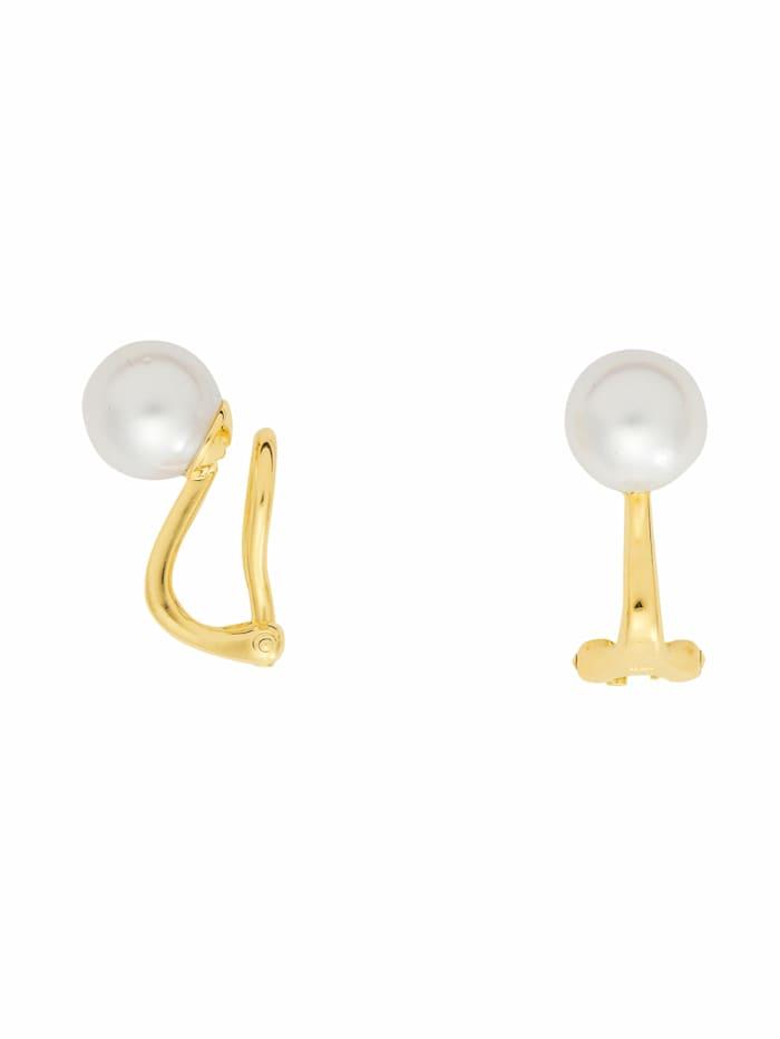 1001 Diamonds Damen Goldschmuck 585 Gold Ohrringe / Ohrclips mit Süßwasser Zuchtperle Ø 8 mm, gold