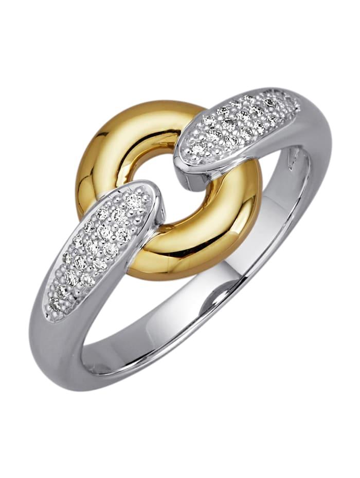 Diemer Diamant Damenring mit Brillanten, Weißgoldfarben