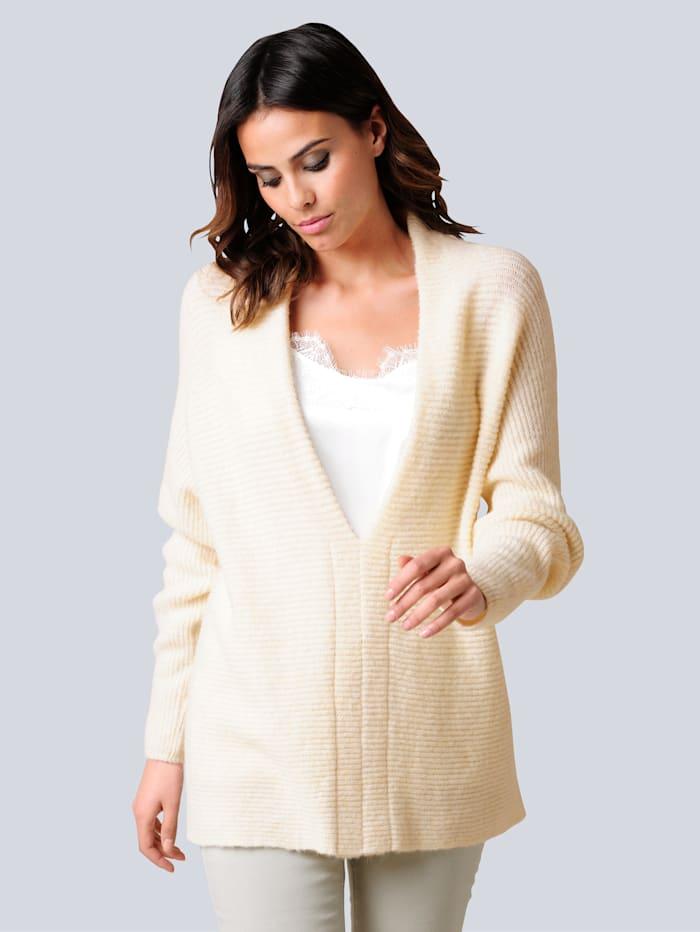Alba Moda Pullover mit effektvoller tiefer Ausschnittlösung, Off-white