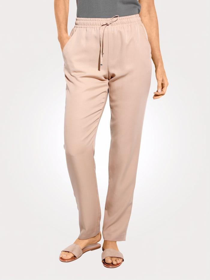 MONA Pantalon à taille élastiquée en Tencel, Sable
