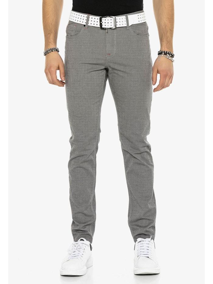 Cipo & Baxx Stoffhose in modischem Straight Fit-Schnitt, Grey