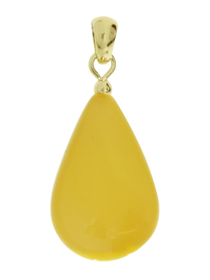 OSTSEE-SCHMUCK Anhänger - Tropfen flach, ca. 22 mm lang - Gold 585/000 - Bernstein -, gelb