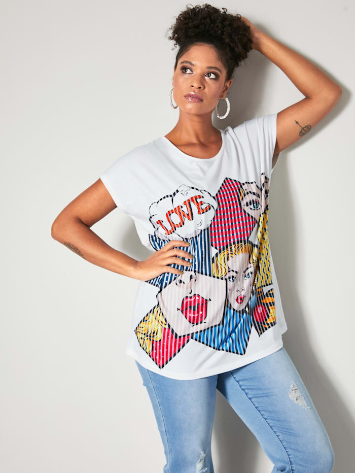 Angel of Style Shirt mit Comic-Print, Ecru