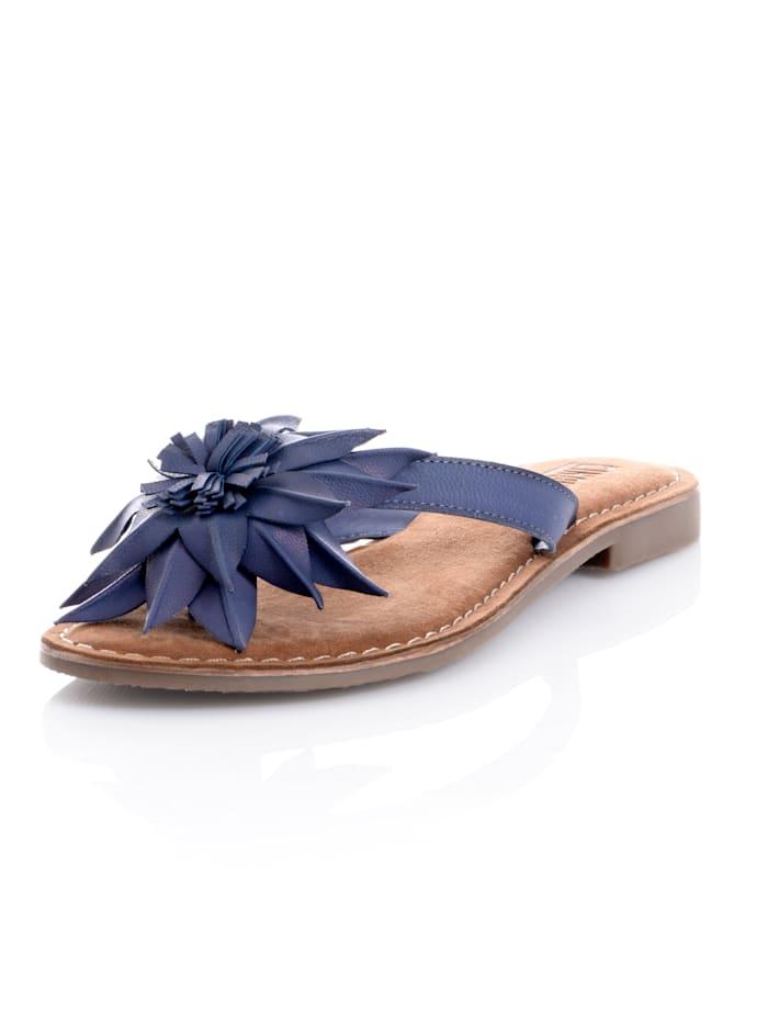 CINQUE Teenslipper met sierlijke bloem, Blauw