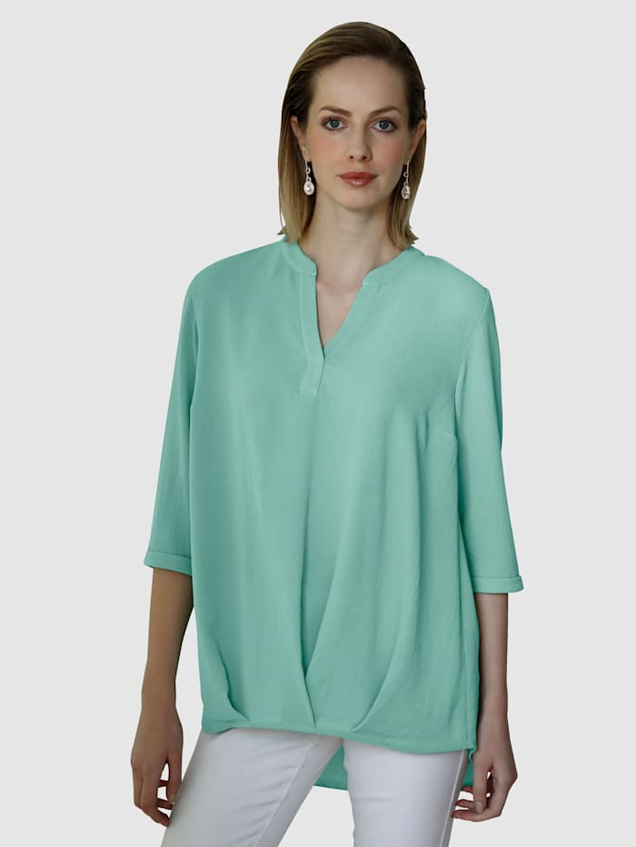 AMY VERMONT Bluse mit dekorativer Faltenlegung, Mintgrün