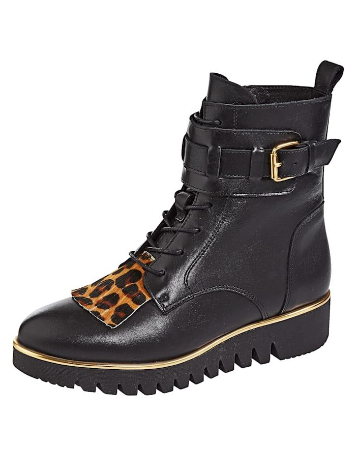Filipe Shoes Schnürstiefelette mit Zierschnalle und Zierlasche, Schwarz