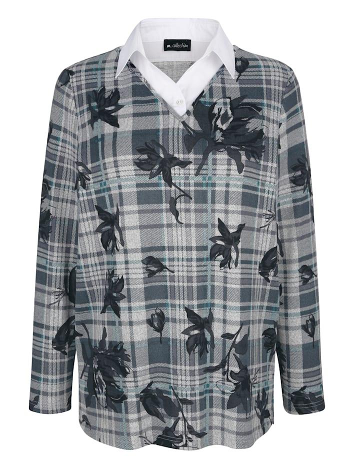 m. collection Shirt met overhemdkraaginzet, Groen/Grijs