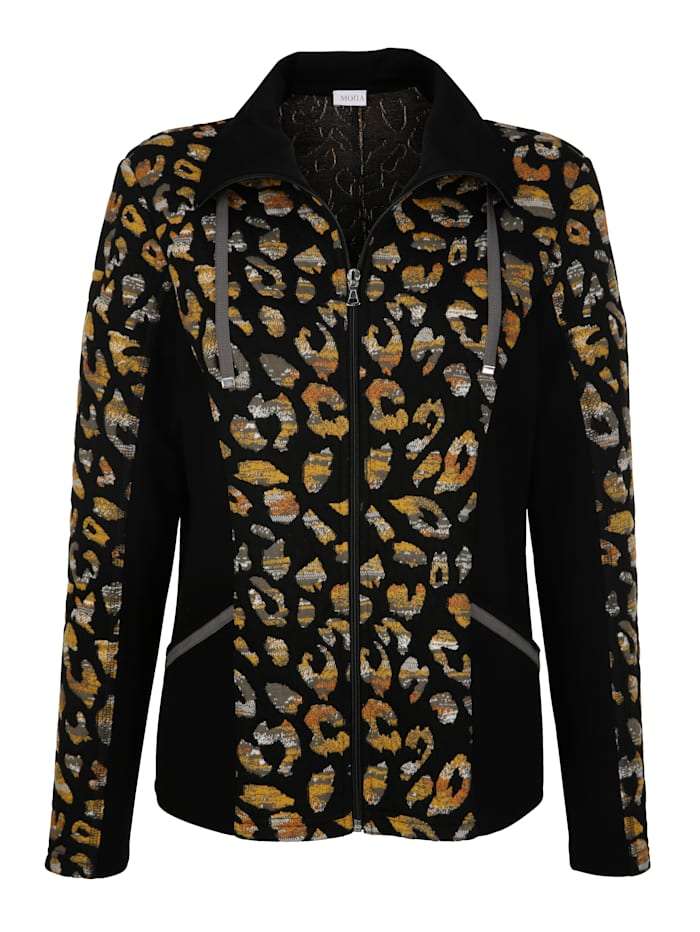 Jacket with a placed animal print