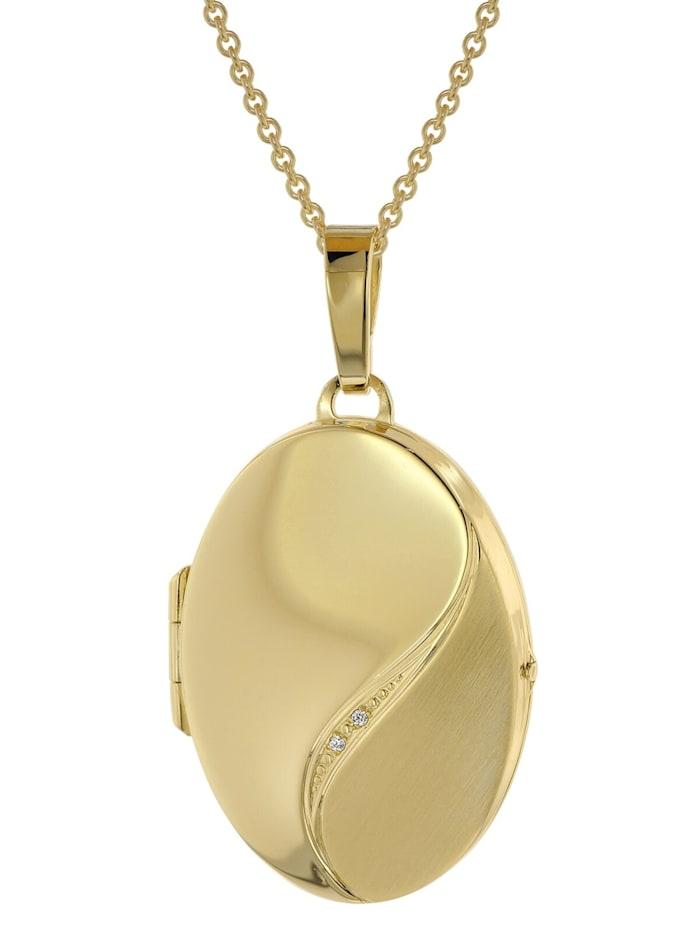 trendor Halskette mit Medaillon-Anhänger Silber 925 gold plattiert, Goldfarben