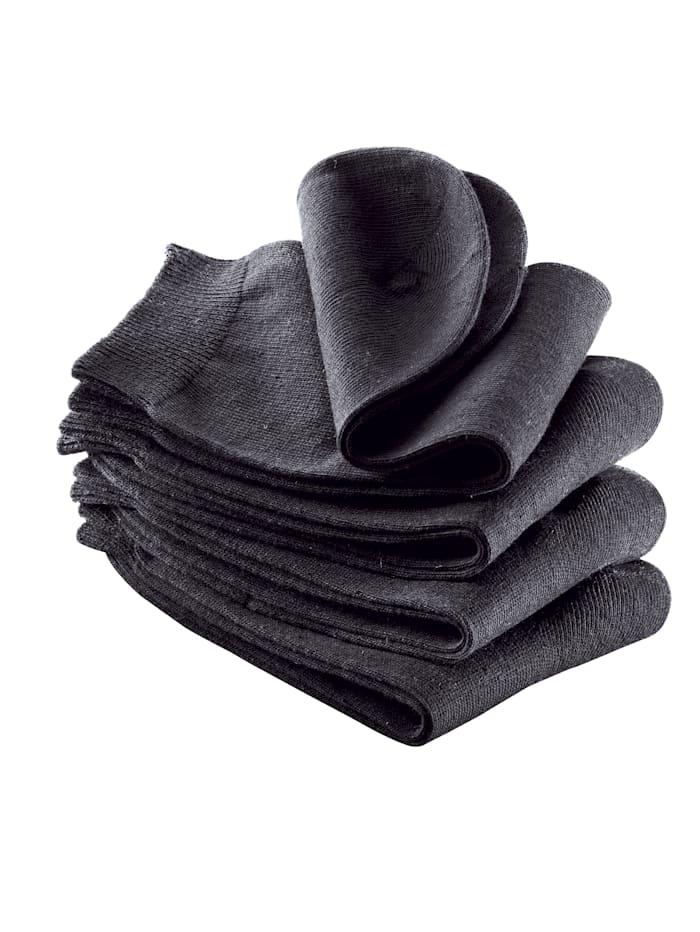 Damensocken, 4er Pack handgekettelt, Schwarz