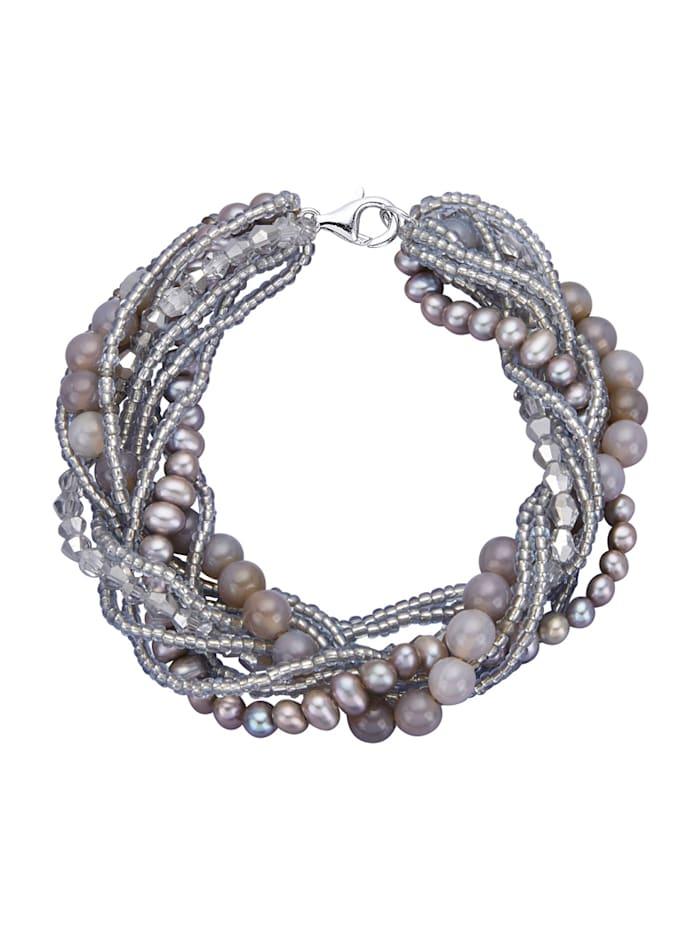 Armband mit Süßwasser-Zuchtperlen, Grau