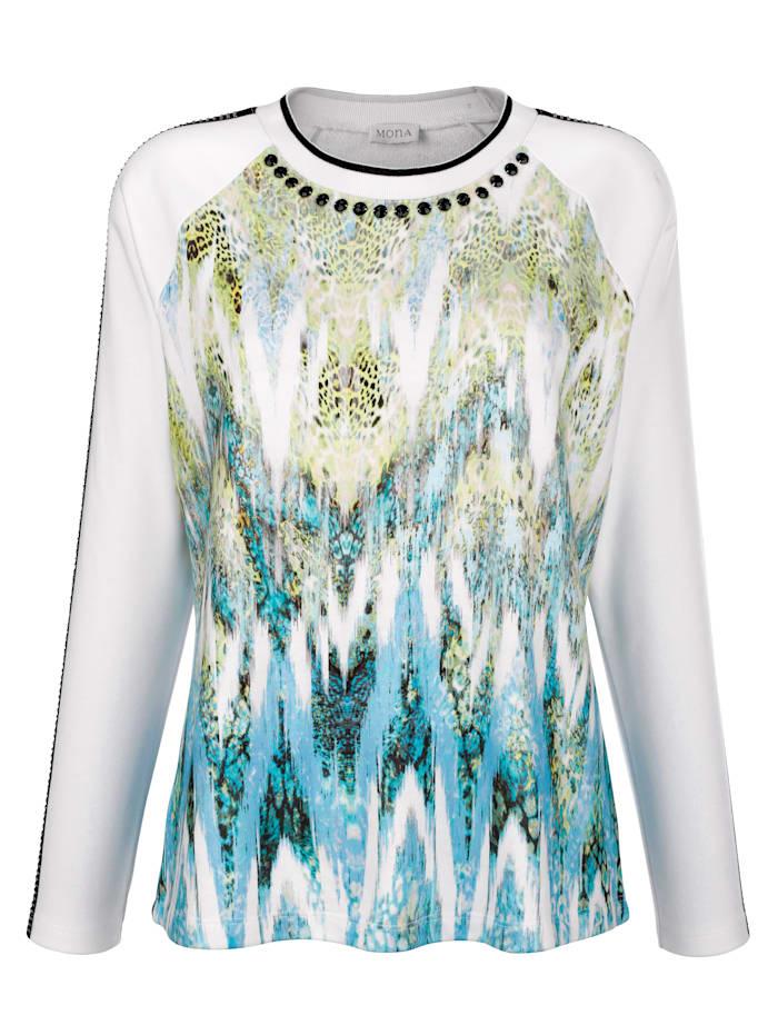 Sweatshirt in modieuze materialenmix