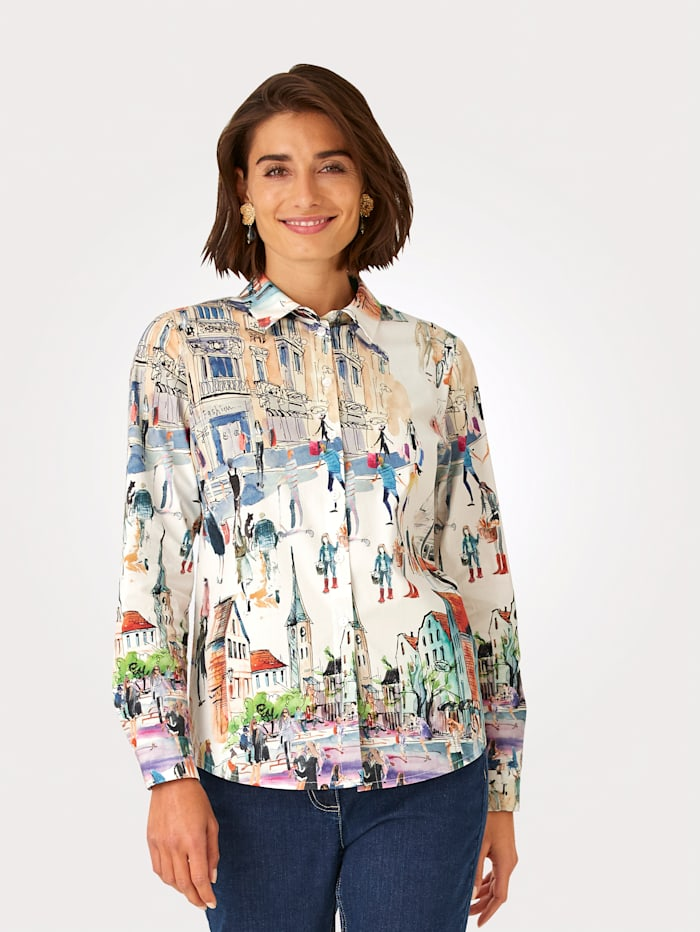 MONA Blouse with a placed print, Ecru/Red/Blue/Green