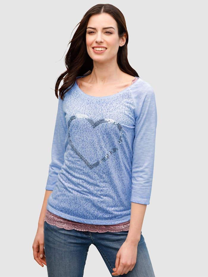 Dress In Shirt met hart van pailletten, Lichtblauw