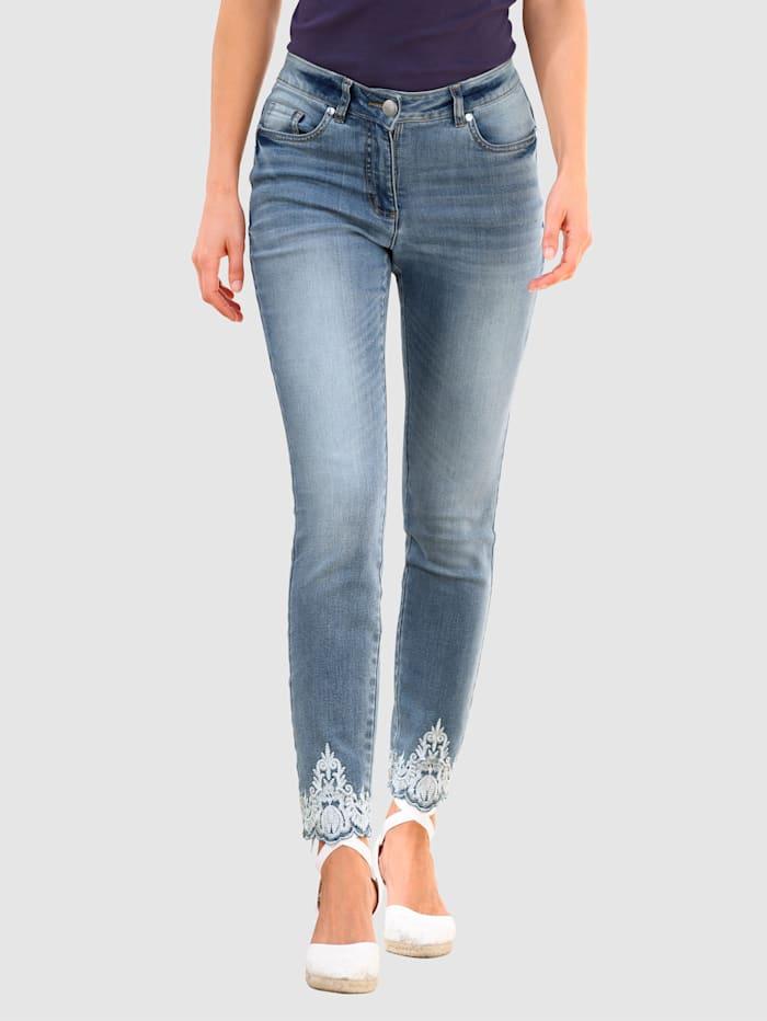 Laura Kent Jeans Jeans Laura Extra Slim mit kontrastfarbener Stickerei, Blue bleached