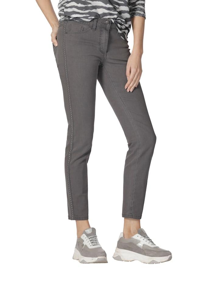 AMY VERMONT Jeans met sierband opzij, Grey