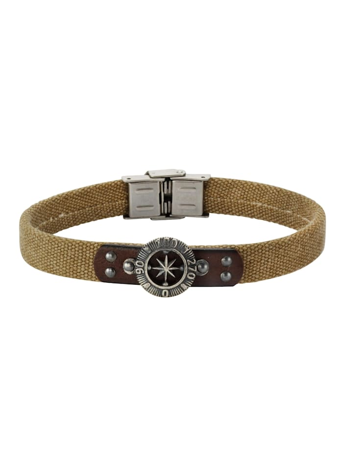 nox Armband Edelstahl 21cm Glänzend, braun