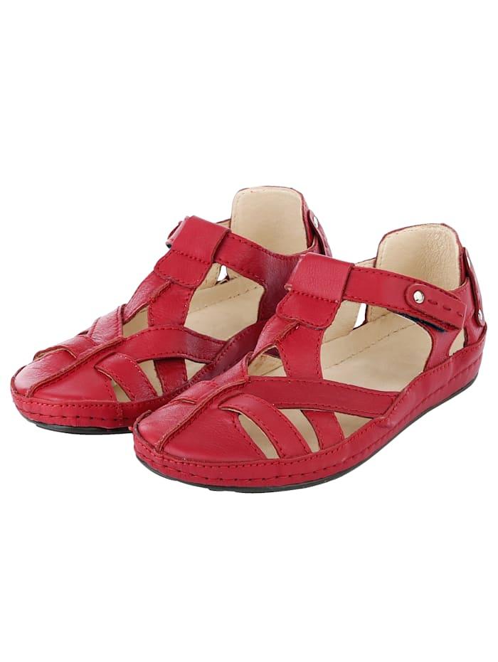 Naturläufer Klettslipper mit flexibler Laufsohle, Rot