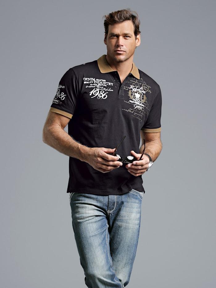 Men Plus Poloshirt aus reiner Baumwolle, Schwarz/Weiß/Cognac