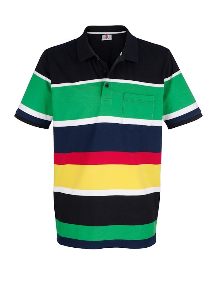 Roger Kent Poloskjorte med garnfarget stripemønster, Multicolor