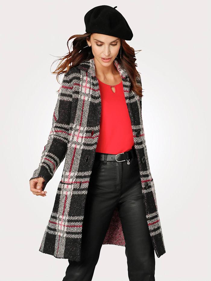 Rabe Dlhý sveter s károvaným vzorom, Čierna/Prírodná biela