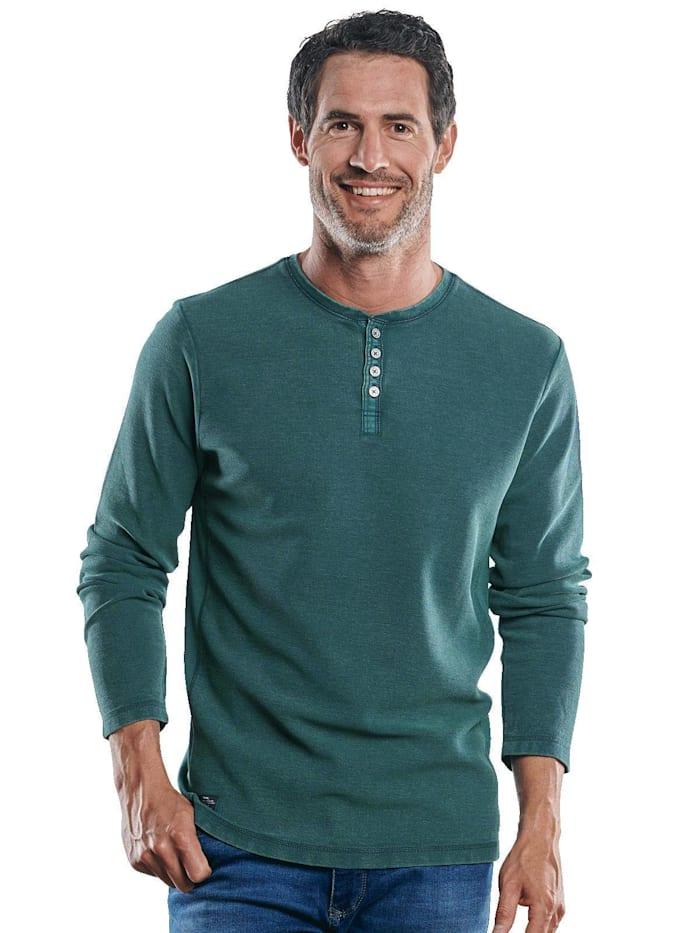 Engbers Henley Shirt mit schöner Waffelstruktur, Moosgrün