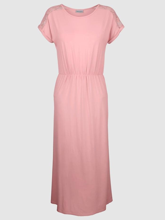 Laura Kent Jerseyklänning med spets på axlarna, Aprikos