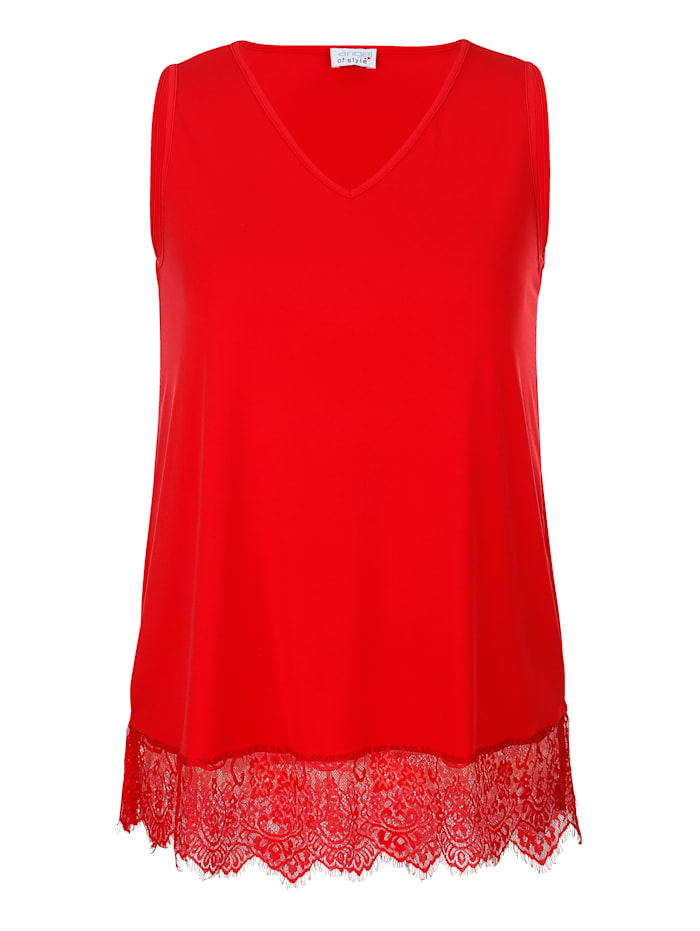 Angel of Style Longtop mit Spitze, Rot