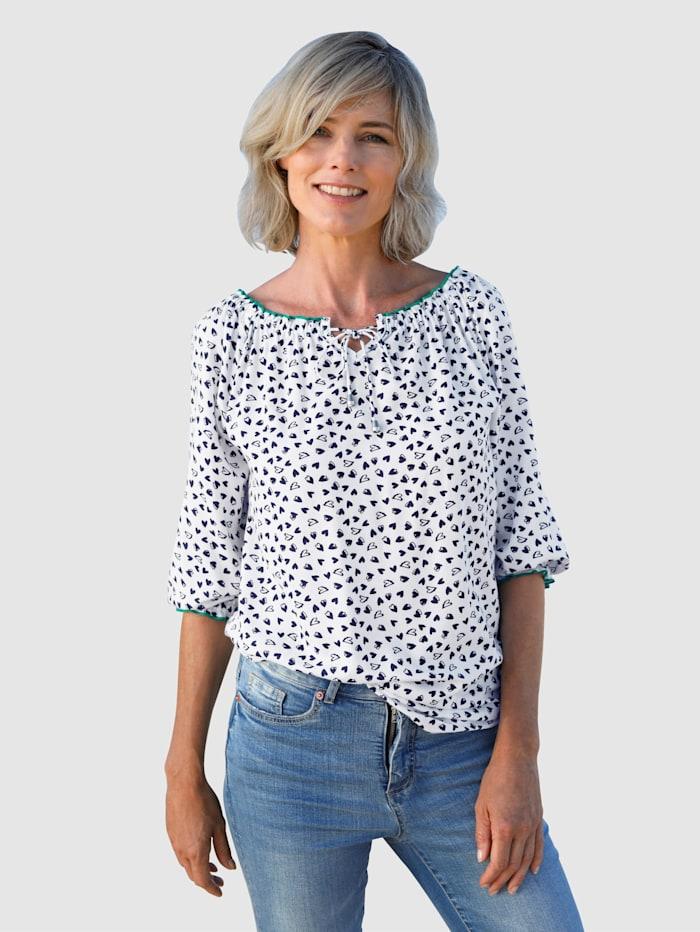 Dress In Bluse mit schönem Herzendruck, Weiß/Marineblau