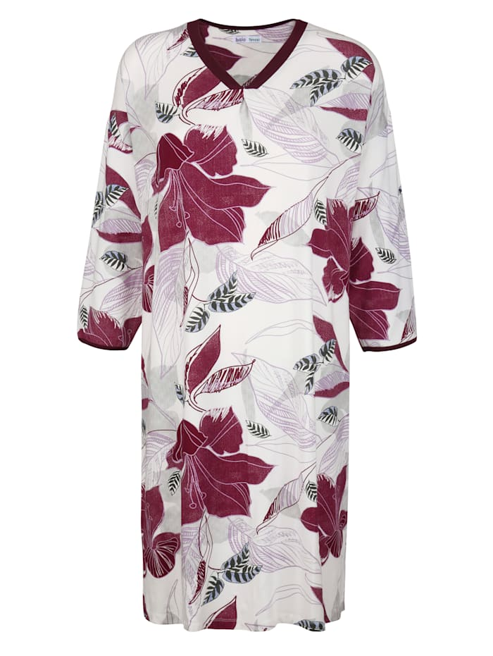 MONA Nightdress made from a light, flowing fabric, Ecru/Bordeaux/Grey