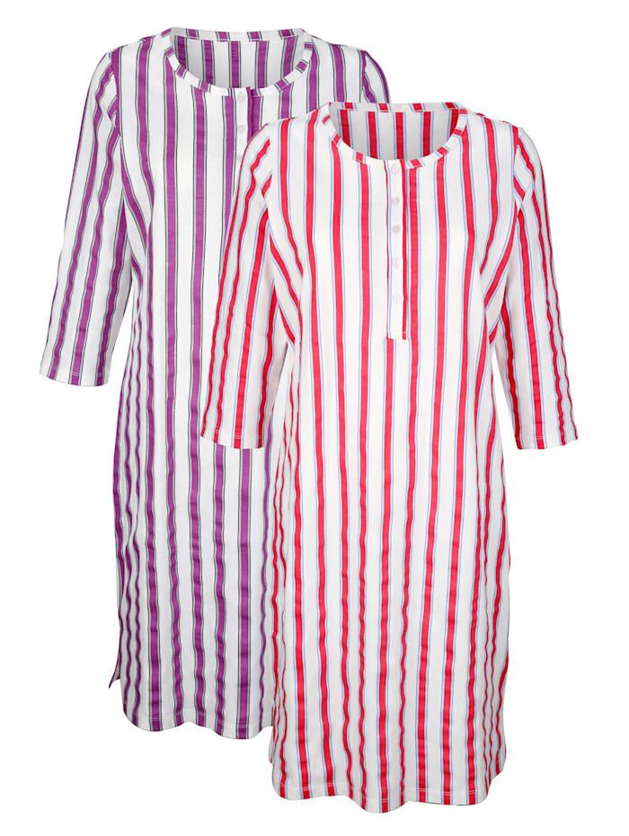 Harmony Nachthemden per 2 stuks met ingebreid streepdessin, Wit/Koraal/Fuchsia
