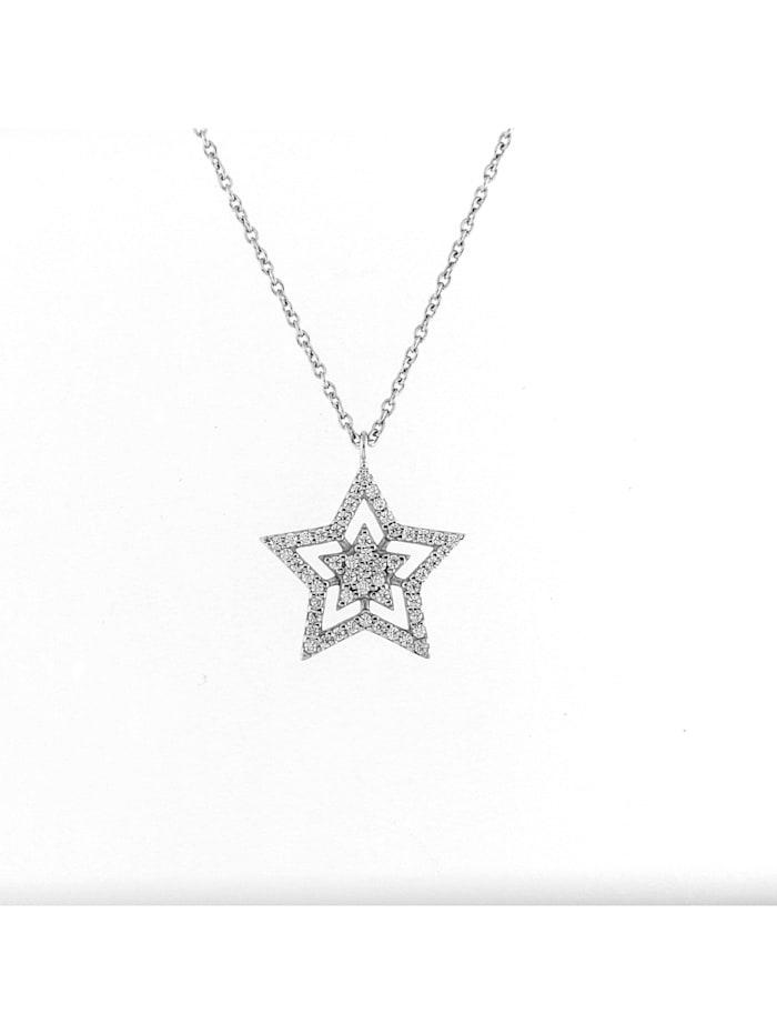 Smart Jewel Collier Stern mit Zirkonia Steinen, Silber 925, Weiss